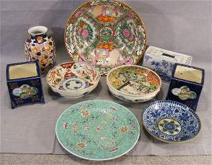 Lot of misc. Chinese porcelain, bowls, planters, pl