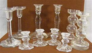 Lot of five pair clear glass candleholders