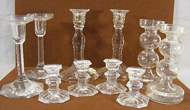 9V: Lot of five pair clear glass candleholders