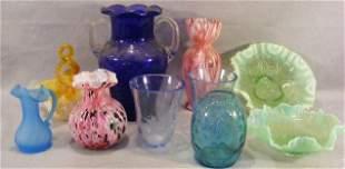 Lot of misc. art glass including cobalt vase, spat