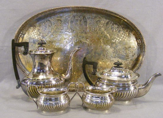 "21V: Silver plated tea set with 21.75"" tray, plate worn"