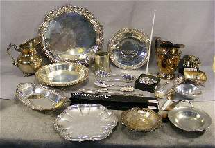 """Large lot of silver plate including, 16"""" tray, pie"""