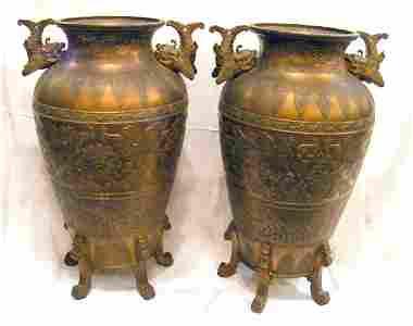 38Q: Pair of 19th. C. monumental bronze oriental vases