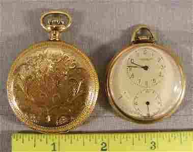 127F: 2 gold filled pocket watches, Waltham 15 jewel mo