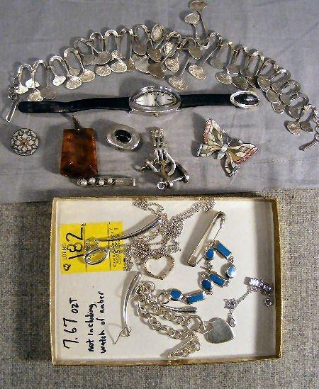 182Q: Sterling modern jewelry, Tiffany & Co. ring & 2 k