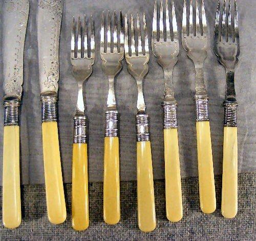 229W: Flatware, mother-of-pearl handles, bone handles,  - 6