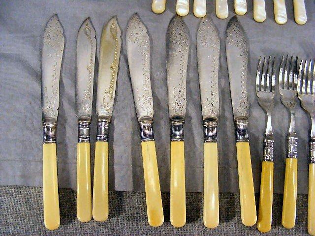 229W: Flatware, mother-of-pearl handles, bone handles,  - 7