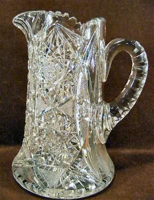"""American brilliant period cut glass 9.5"""" pitcher, n"""