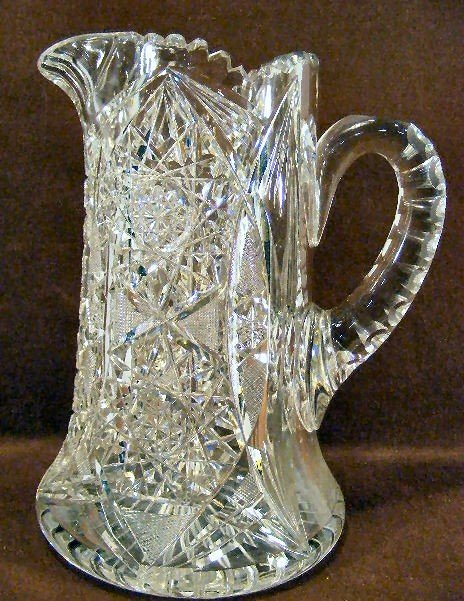"""3F: American brilliant period cut glass 9.5"""" pitcher, n"""
