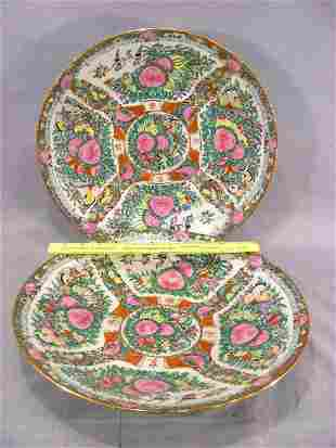 """Two rose medallion contemporary shallow bowls, 14"""""""