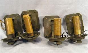 Arts & Crafts iron electric candle sconces, impress