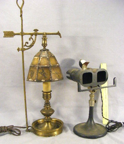 7D: Brass lamp with mica shade (peeling paint) together