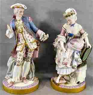 "Pair of fine bisque 15"" porcelain figurines, intric"