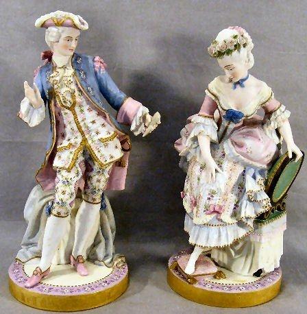"9P: Pair of fine bisque 15"" porcelain figurines, intric"