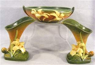 "3 pieces Roseville Zephyr Lily, bowl 8.75"" dia. An"