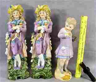 """Pair of 14"""" bisque figurines marked on back and im"""