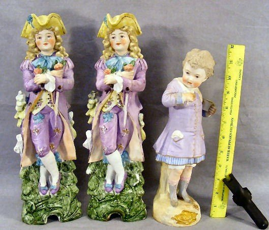 """12P: Pair of 14"""" bisque figurines marked on back and im"""