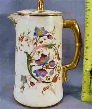 Royal Worcester floral decorated chocolate pot wit