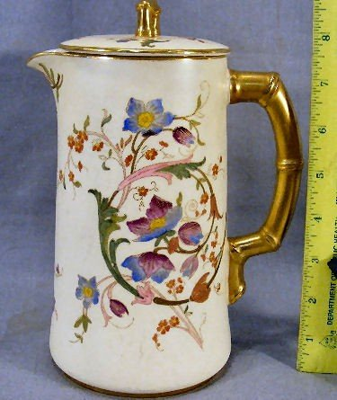 15P: Royal Worcester floral decorated chocolate pot wit
