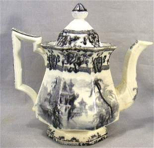 Davenport mulberry teapot, Cypress pattern, no chi
