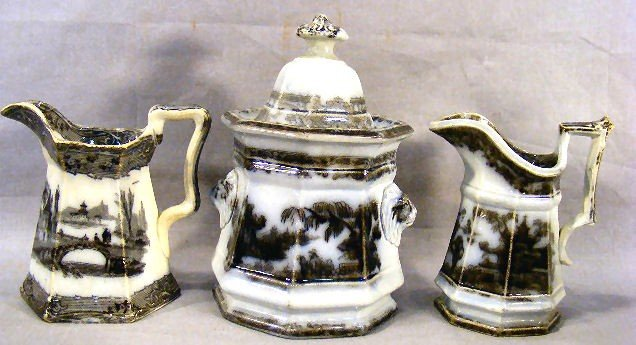 17P: Mulberry covered sugar bowl and two cream pitchers