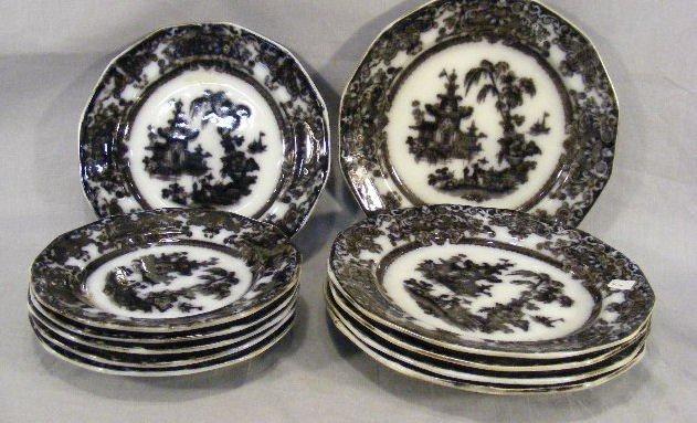 "18P: Corean mulberry, 5 - 9.75"" plates, 5 - 7.75"" plate"