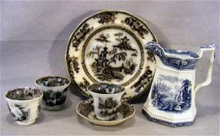 Three mulberry handle less cups and one saucer, 10