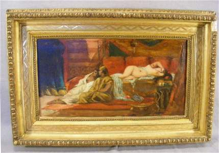 169P: Orientalist oil painting on panel, Odalisque with