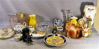 335B 2 boxes of misc items teapots glassware cow c