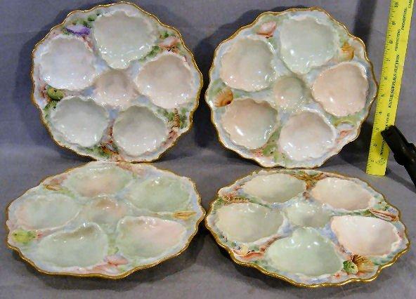 "2J: Four T&V Limoges 9.5"" oyster plates, excellent cond"