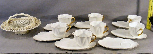 3J: Lot of 7 Shelley cups & 8 saucers together with Bel
