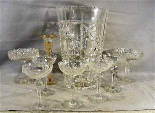 """Lot of clear glass including 5 etched 6.25"""" wines ("""
