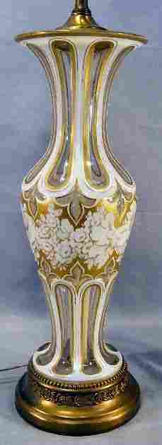 White to clear glass overlay vase drilled on bottom