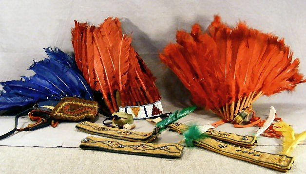 8H: Lot of costume native American head bands with Hard