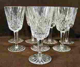 """8 Waterford crystal wine glasses - 5.5"""" high"""