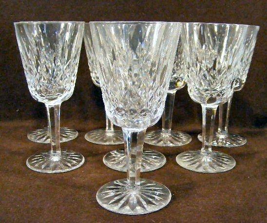 """19U: 8 Waterford crystal wine glasses - 5.5"""" high"""