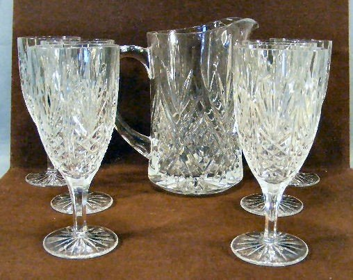 """21H: Lot of 6 pressed glass 7.5"""" goblets and 8.5"""" pitch"""