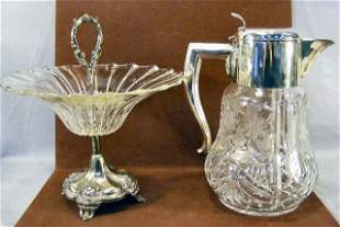 Large cut glass pitcher with ice insert together w