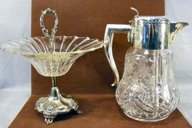 22H: Large cut glass pitcher with ice insert together w