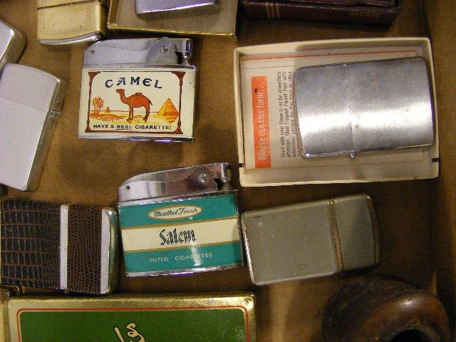 83A: Lighters, pipes, Lucky Strike tin, Zippos, Ronson, - 4