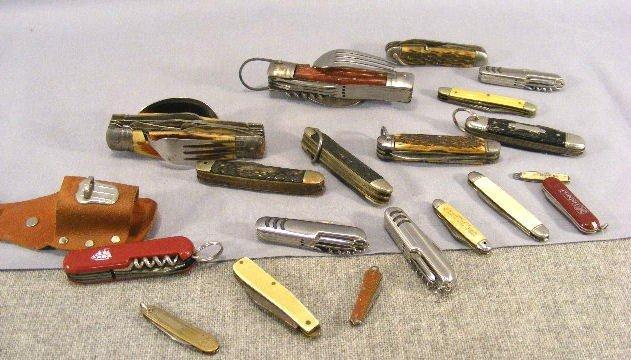 1L: Lot of pocket knives, camping knives (Japan), Camil