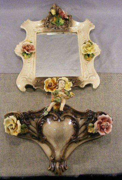 7D: Italian Capodimonte pottery lavabo and mirror, one