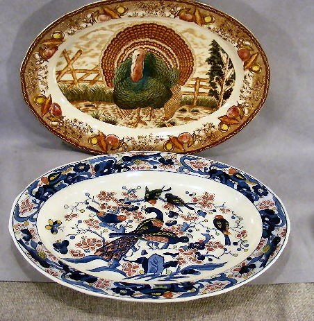 """9D: Two transfer ware 18"""" platters, both unmarked, no d"""