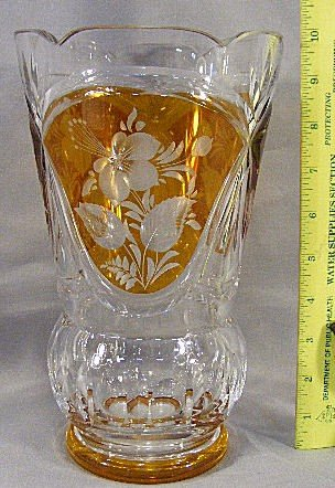 11D: Cut glass vase with 3 amber cut to clear panels an