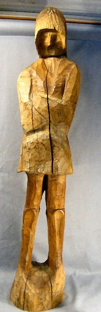 """13D: Carved wood statue, 46"""" high, initialed """"hm"""", shri"""