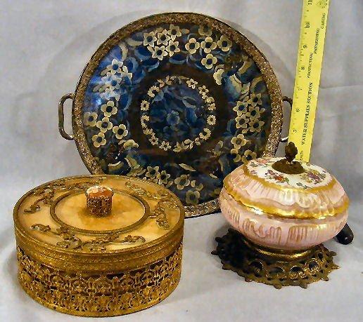 14D: Brass covered dresser box, silver plated dresser t