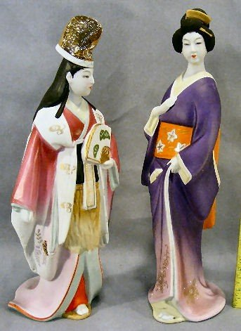 15D: Two oriental porcelain figurines, one missing cork