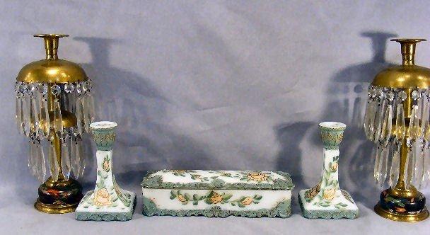 16D: Victorian era milk glass dresser box with matching
