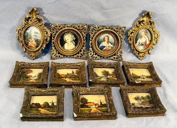 17D: Lot of 7 miniature hand painted pictures in wood &