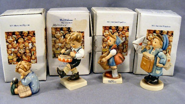 20H: Lot of four Hummel figurines, mint in box.